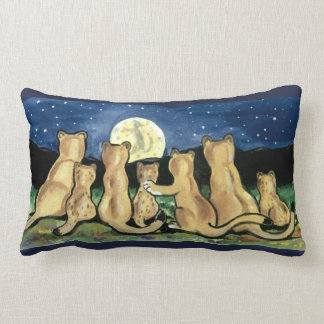 Puma Mountain Lion Family and Moon Designer Pillow