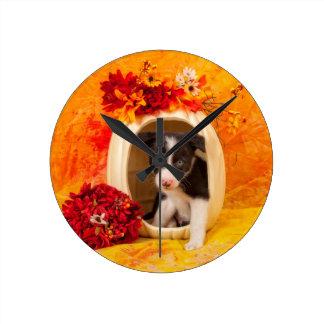 Pumkin Puppy Wall Clock