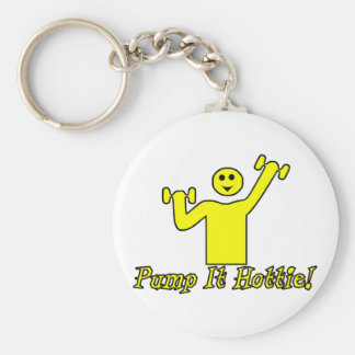 Pump It Hottie Basic Round Button Key Ring