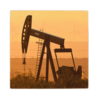 Pump Jack Pumping Oil In West Texas, USA Maple Wood Coaster