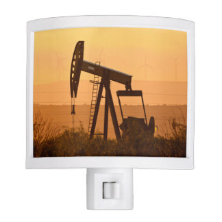 Pump Jack Pumping Oil In West Texas, USA Nite Lights