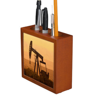 Pump Jack Pumping Oil In West Texas, USA Pencil Holder