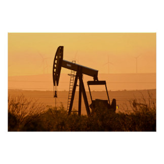 Pump Jack Pumping Oil In West Texas, USA Poster