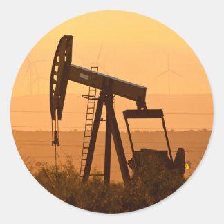 Pump Jack Pumping Oil In West Texas, USA Round Sticker