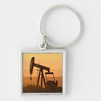 Pump Jack Pumping Oil In West Texas, USA Silver-Colored Square Key Ring
