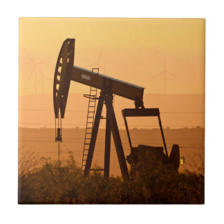 Pump Jack Pumping Oil In West Texas, USA Small Square Tile