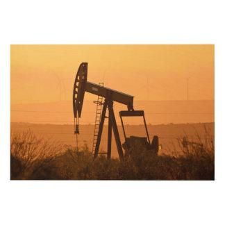 Pump Jack Pumping Oil In West Texas, USA Wood Print