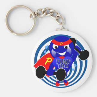 Pump Time Weightlifter Basic Round Button Key Ring