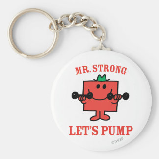 Pumping Iron With Mr. Strong Basic Round Button Key Ring