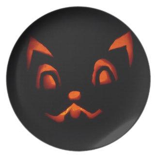 pumpkin-266233 pumpkin autumn fall SCARY BLACK ORA Dinner Plate