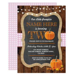 Pumpkin 2nd Birthday Party TWO Pink Girl Invite