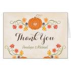 Pumpkin and Acorn Floral Fall Wedding Thank You Card