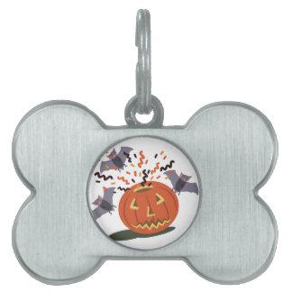 Pumpkin And Bats Pet Tag