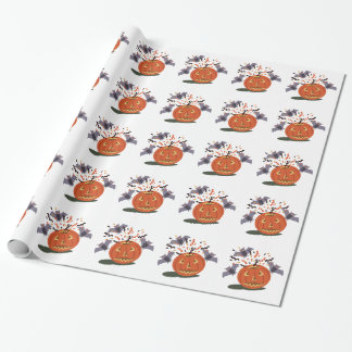 Pumpkin And Bats Wrapping Paper