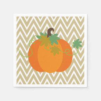 Pumpkin and Chevron Zigzag Pattern Paper Napkins Disposable Napkin
