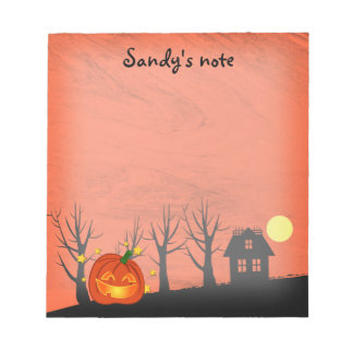 Pumpkin and Haunted House Notepad