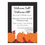 Pumpkin and Leaves on Black Fall Invitation