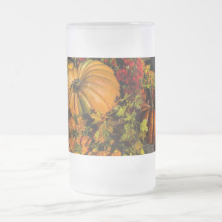 Pumpkin And Mum Arrangement Frosted Glass Beer Mug