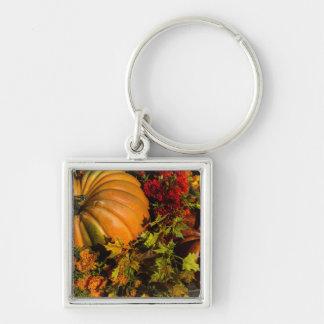 Pumpkin And Mum Arrangement Key Ring
