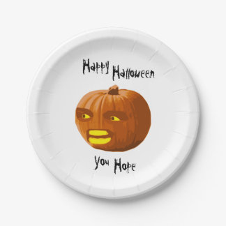 Pumpkin Angry: Happy Halloween - You Hope 7 Inch Paper Plate