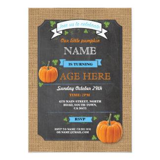 Pumpkin Any Age Birthday Party Blue Boy Invite