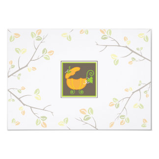 "Pumpkin Baby Carriage RSVP Card 3.5"" X 5"" Invitation Card"