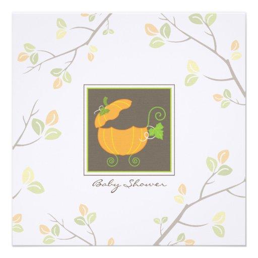 Pumpkin Baby Carriage Shower Invitation