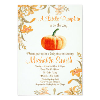 Pumpkin Baby Shower Invitation, Little Pumpkin Card