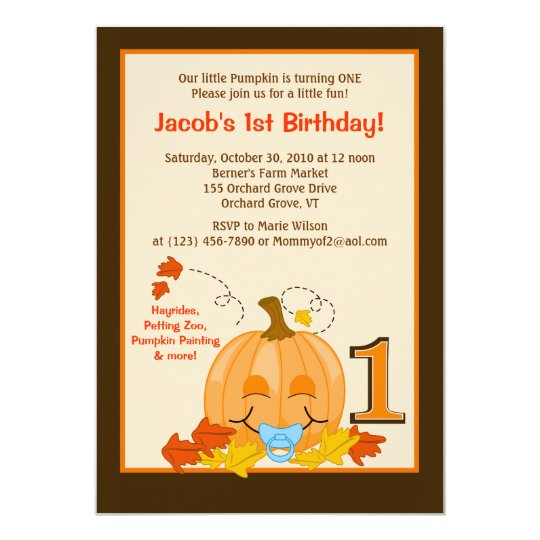 Pumpkin Baby's 1st Birthday Halloween 5x7 Invite