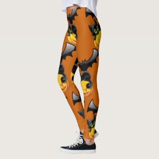 Pumpkin, Bat & Black Cat Leggings