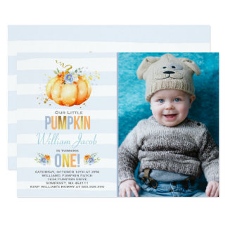 Pumpkin Birthday Invitation Boy Pumpkin Birthday