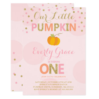 Pumpkin Birthday Invitation Pink Gold Pumpkin
