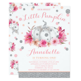 Pumpkin Birthday Invitation Pink Silver Pumpkin