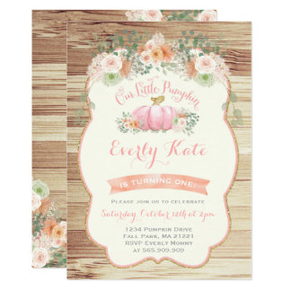 Pumpkin Birthday Invitation Rustic Pumpkin Party