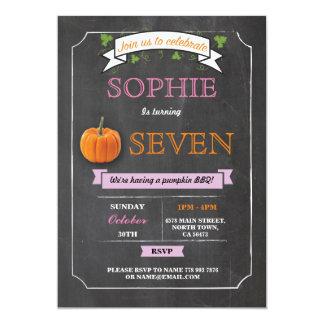 Pumpkin Birthday Party Chalk Pink Any Age Invites