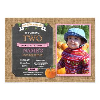 Pumpkin Birthday Party Harvest Photo Pink Invite