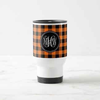 Pumpkin Black Buffalo Check Plaid Vine Monogram Coffee Mugs