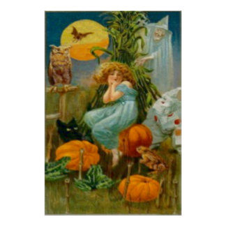 Pumpkin Black Cat Witch Clown Owl Frog Bat Poster
