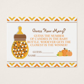 Pumpkin Bottle Baby Shower Guessing Game Business Card