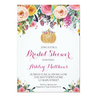 Pumpkin Bridal Shower Pink & Gold Glitter Card