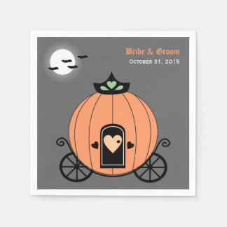 Pumpkin Carriage At Night Wedding Paper Napkins