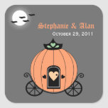 Pumpkin Carriage At Night Wedding Stickers