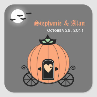 Pumpkin Carriage At Night Wedding Stickers