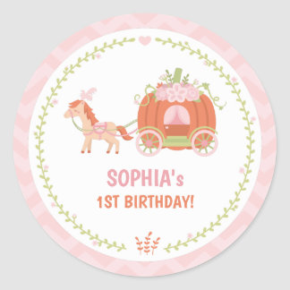 Pumpkin Carriage Birthday Party Favor Stickers
