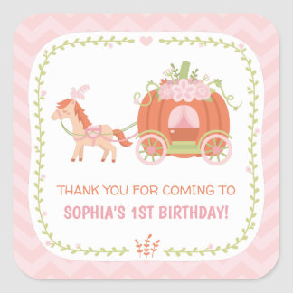 Pumpkin Carriage Thank You Birthday Party Stickers