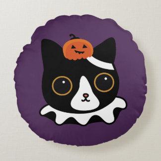 Pumpkin cat Holloween Round Cushion