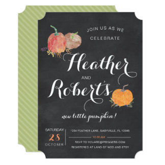 Pumpkin Chalkboard Baby Shower Invitation
