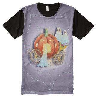 PUMPKIN COACH & GHOSTS by SHARON SHARPE All-Over Print T-Shirt