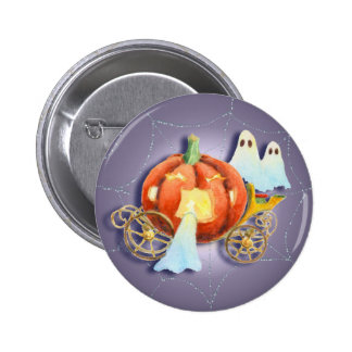 PUMPKIN COACH, WEB & GHOSTS by SHARON SHARPE 6 Cm Round Badge