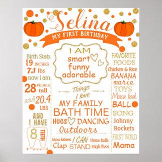 Pumpkin Confetti Birthday sign poster milestone